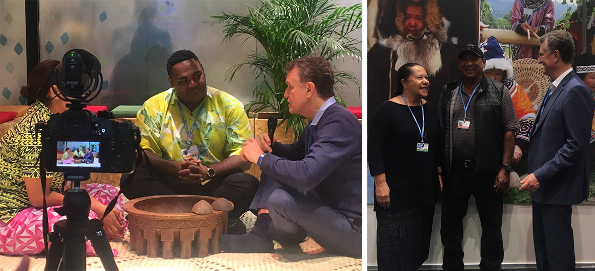 (left) Prof Don Henry with Pacific Island representives for media interviews; (right) Don Henry meets Dame Margaret Taylor and Nolan Hunter.